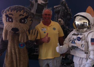 Jim Underwood, Merritt Island Breakfast Rotary Club, takes Josh the Otter to the moon!